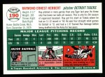 1994 Topps 1954 Archives #190  Ray Herbert  Back Thumbnail