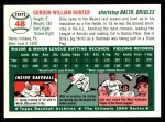 1994 Topps 1954 Archives #48  Billy Hunter  Back Thumbnail