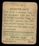 1933 Goudey Indian Gum #106   Medicine Man  Back Thumbnail