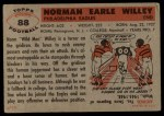 1956 Topps #88  Norm Willey  Back Thumbnail