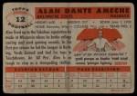1956 Topps #12  Alan Ameche  Back Thumbnail