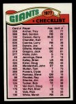 1977 Topps #218   Giants Team Checklist Front Thumbnail