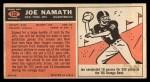 1965 Topps #122  Joe Namath  Back Thumbnail