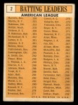 1963 Topps #2   -  Mickey Mantle / Chuck Hinton / Floyd Robinson / Pete Runnels / Norm Siebern AL Batting Leaders Back Thumbnail