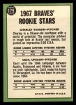 1967 Topps #179   -  Cecil Upshaw / Charles Vaughan Braves Rookies Back Thumbnail
