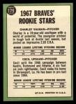 1967 Topps #179   -  Cecil Upshaw / Charles Vaughan Braves Rookies Back Thumbnail