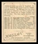 1910 T218 Champions #132  Owen Moran  Back Thumbnail