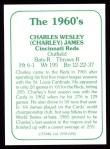 1978 TCMA The 60's #292  Charlie James  Back Thumbnail