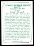 1978 TCMA The 60's #249  Eddie Kasko  Back Thumbnail