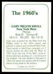 1978 TCMA The 60's #27 B Gary Kroll  Back Thumbnail