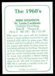 1978 TCMA The 60's #275  Mike Shannon  Back Thumbnail