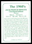 1978 TCMA The 60's #134  Jack Kralick  Back Thumbnail