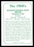 1978 TCMA The 60's #41  Ron Brand  Back Thumbnail