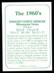 1978 TCMA The 60's #126  Dwight Siebler  Back Thumbnail
