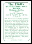 1978 TCMA The 60's #95  Dick Brown  Back Thumbnail