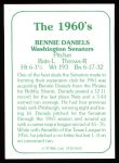 1978 TCMA The 60's #145  Bennie Daniels  Back Thumbnail