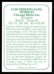1978 TCMA The 60's #250  Luis Aparicio  Back Thumbnail