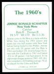 1978 TCMA The 60's #184  Jim Schaffer  Back Thumbnail