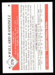 1979 TCMA The 50's #279  Willard Ramsdell  Back Thumbnail