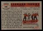 1956 Topps #46  Len Teeuws  Back Thumbnail