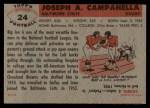 1956 Topps #24  Joe Campanella  Back Thumbnail