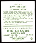 1933 Goudey Reprint #54  Ray Kremer  Back Thumbnail