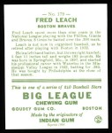1933 Goudey Reprint #179  Fred Leach  Back Thumbnail