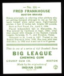 1933 Goudey Reprint #131  Fred Frankhouse  Back Thumbnail