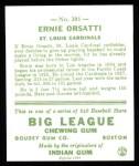 1933 Goudey Reprint #201  Ernie Orsatti  Back Thumbnail