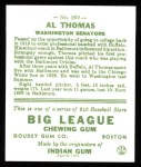 1933 Goudey Reprint #169  Al Thomas  Back Thumbnail