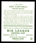 1933 Goudey Reprint #139  Ben Cantwell  Back Thumbnail