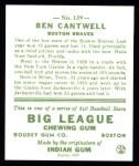 1933 Goudey Reprint #139  Ben Cantwell  Back Thumbnail