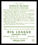 1933 Goudey Reprint #113  Ossie Bluege  Back Thumbnail