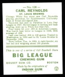 1933 Goudey Reprint #120  Carl Reynolds  Back Thumbnail
