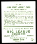 1933 Goudey Reprints #85  Heinie Sand  Back Thumbnail