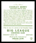 1933 Goudey Reprint #184  Charles Berry  Back Thumbnail