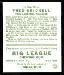 1933 Goudey Reprint #38  Fred Brickell  Back Thumbnail