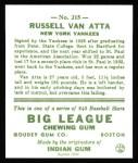 1933 Goudey Reprint #215  Russ Van atta  Back Thumbnail