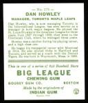 1933 Goudey Reprint #175  Dan Howley  Back Thumbnail