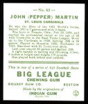 1933 Goudey Reprint #62  Pepper Martin  Back Thumbnail