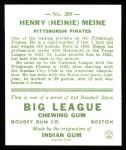 1933 Goudey Reprint #205  Heinie Meine  Back Thumbnail