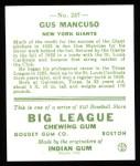 1933 Goudey Reprint #237  Gus Mancuso  Back Thumbnail
