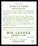 1933 Goudey Reprint #24  Horace Ford  Back Thumbnail