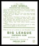 1933 Goudey Reprint #114  Luke Sewell  Back Thumbnail