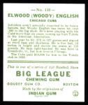 1933 Goudey Reprint #135  Woody English  Back Thumbnail