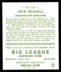 1933 Goudey Reprint #123  Jack Russell  Back Thumbnail