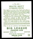 1933 Goudey Reprint #60  Waite Hoyt  Back Thumbnail
