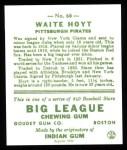1933 Goudey Reprints #60  Waite Hoyt  Back Thumbnail