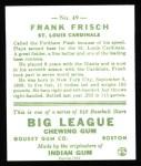 1933 Goudey Reprint #49  Frankie Frisch   Back Thumbnail