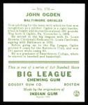 1933 Goudey Reprint #176  John Ogden  Back Thumbnail